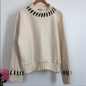 Funky Zara Cream and Brown Knit Sweater